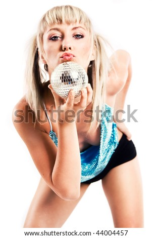 Beautiful young blonde holding a small disco ball - stock photo
