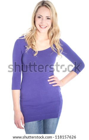 Beautiful young blonde woman three quarter body shot with hand on hip - stock photo