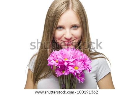 Beautiful young blonde woman with pink flowers