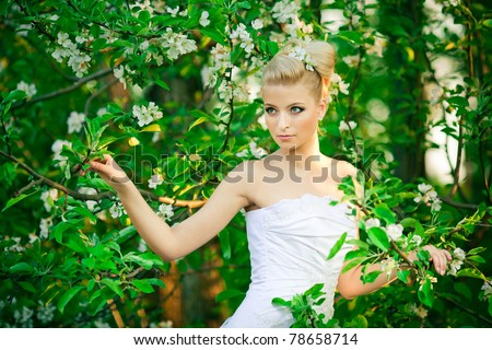 beautiful young bride in garden