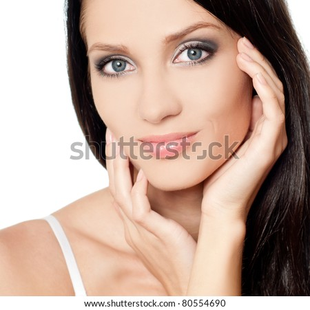 beautiful young brunette, isolated - stock photo