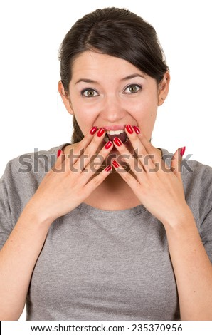 Beautiful young brunette sweet girl posing with hands covering mouth gesturing surprise isolated on white - stock photo