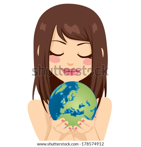 Beautiful young brunette woman holding earth globe showing European continent with her hands - stock photo