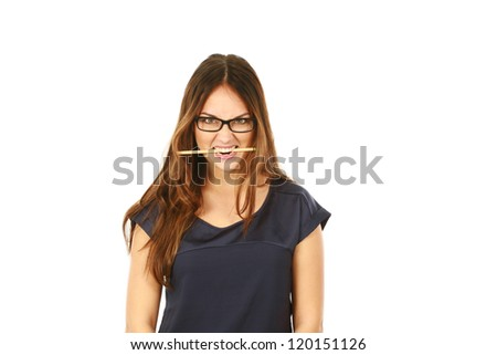 beautiful young business woman biting a pencil isolated on white - stock photo