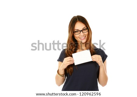 beautiful young business woman holding blank note card isolated on white
