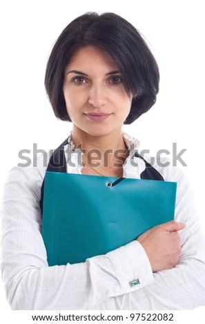 beautiful young business woman hugging clipboard isolated on white background - stock photo