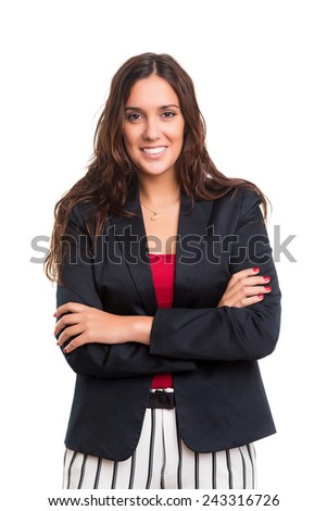 Beautiful young business woman posing isolated - stock photo