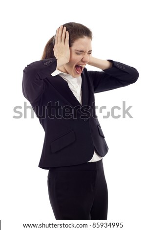 Beautiful young business woman screaming, Hands at her ears, mouth wide open, eyes closed isolated over white background - stock photo