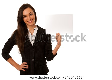 Beautiful young business woman showing a blank card isolated over white - stock photo