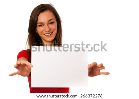 Beautiful young business woman showing a blank card isolated over white