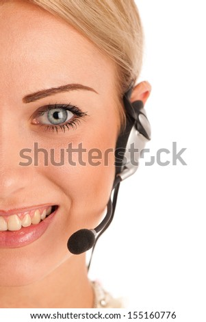 Beautiful young business woman with headset isolated over white background