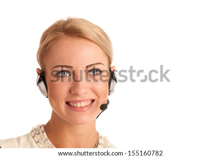 Beautiful young business woman with headset isolated over white background - stock photo