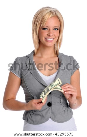 Beautiful young businesswoman holding a bundle of money isolated over white background - stock photo