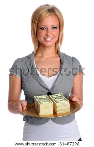 Beautiful young businesswoman holding tray with money - stock photo