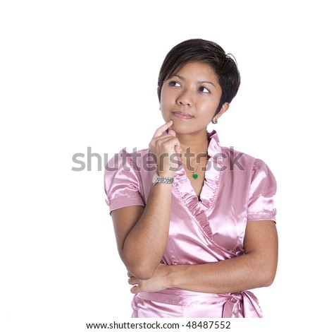 Beautiful young businesswoman in pink in thinking pose isolated on white