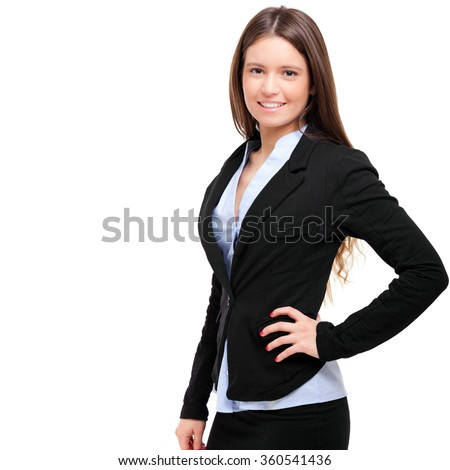 Beautiful young businesswoman portrait isolated on white  - stock photo