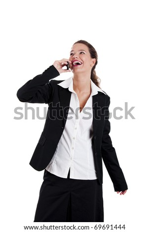 Beautiful young businesswoman talking on cellphone, isolated on white - stock photo