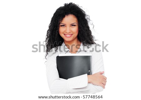beautiful young businesswoman with folder. isolated on white background - stock photo