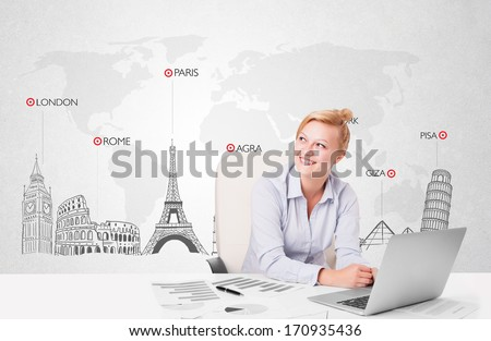 Beautiful young businesswoman with world map and major landmarks of the world - stock photo