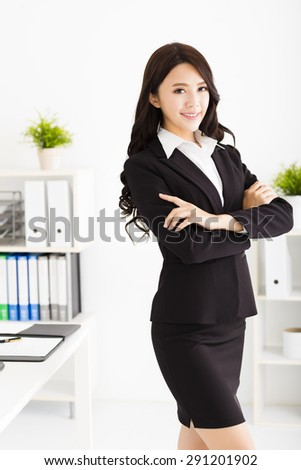 beautiful young businesswoman working in the office - stock photo