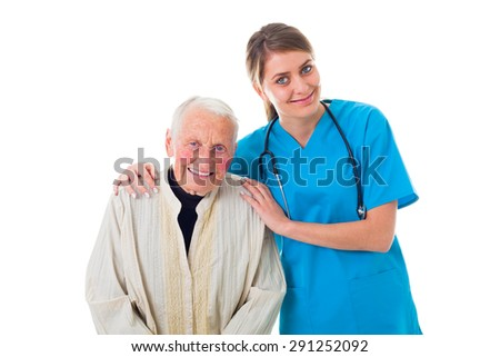 Beautiful young caretaker helping a sick elderly woman.