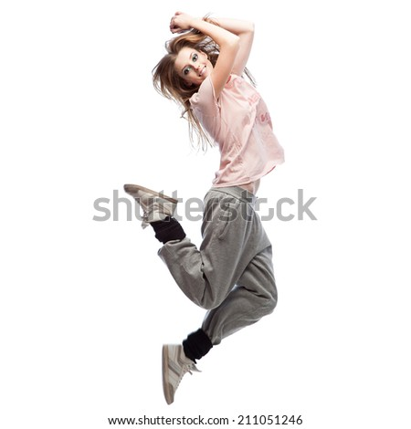 beautiful young casual caucasian  hip-hop dancing woman. isolated on white - stock photo