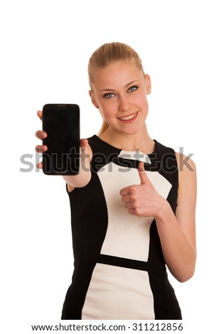 Beautiful young caucasian business woman with smart phone communicating - stock photo