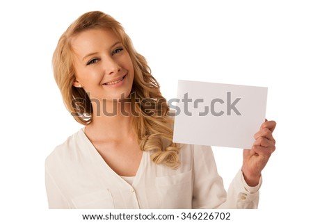 Beautiful young caucasian woman holding a blank white board in her hand isolated over white background - stock photo