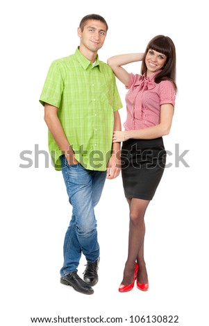 Beautiful young couple on a white background