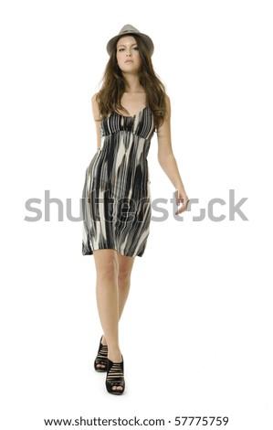 Beautiful young fashion woman in Studio - stock photo