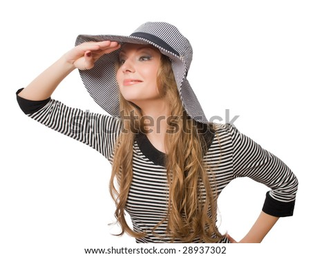 beautiful young female in grey hat isolated over white with clipping path