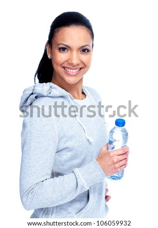 Beautiful young fitness woman. Isolated over white background.