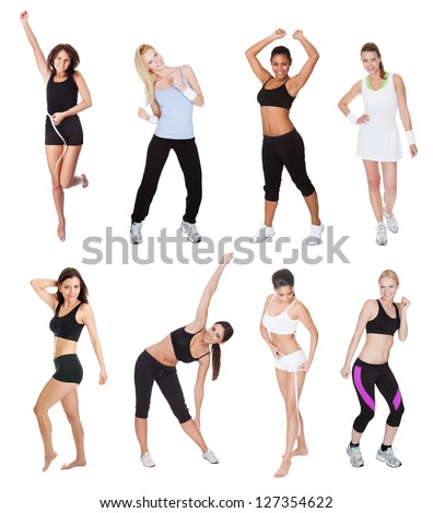 Beautiful young fitness women. Isolated on white - stock photo