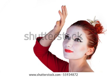 Beautiful young Geisha on a white background