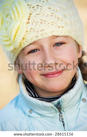 Beautiful young girl close-up portrait - stock photo