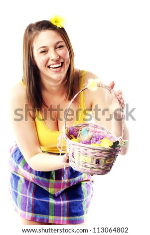 Young indian girl posing product shots stock photo 285969167 beautiful young girl holding basket of colored eggs for easter negle Images