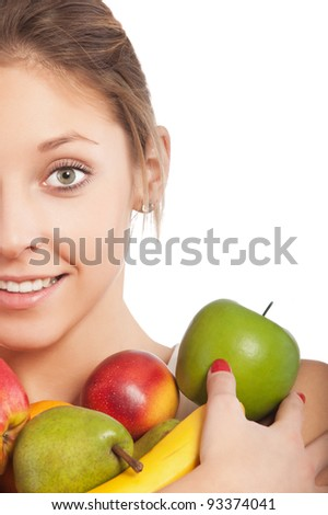 beautiful young girl holding some fruits isolated on white background - stock photo