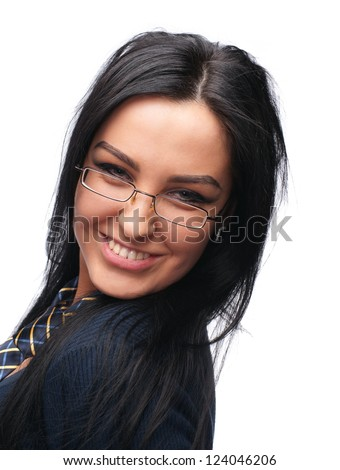 Beautiful young girl in glasses wearing a tie on a white background