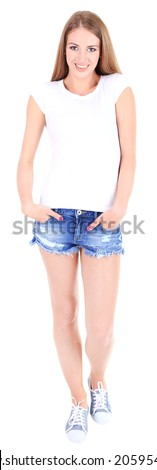 Beautiful young girl in shorts and t-shirt isolated on white - stock photo