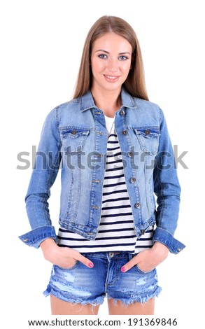 Beautiful young girl  in shorts, jacket and t-shirt isolated on white
