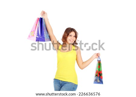beautiful young girl shopping closeup