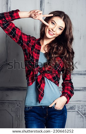 Beautiful young girl smiling - stock photo