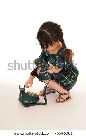 beautiful young girl talking phone - stock photo