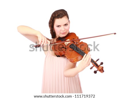 beautiful young girl violinist playing over white background - stock photo