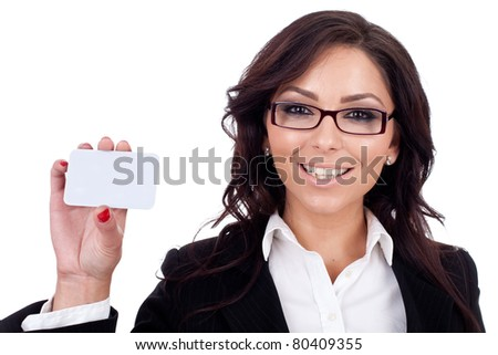 beautiful young girl with a blank card on white background