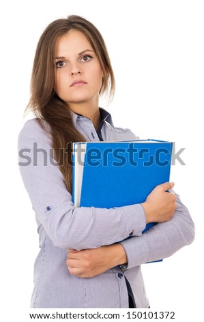 Beautiful young girl with a folder is