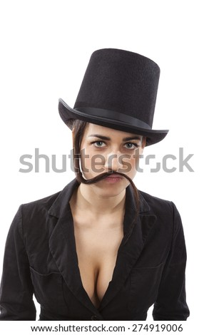 Beautiful young girl with black hat and black dress with mustache from hair. Female discrimination in workplace and feminism.
