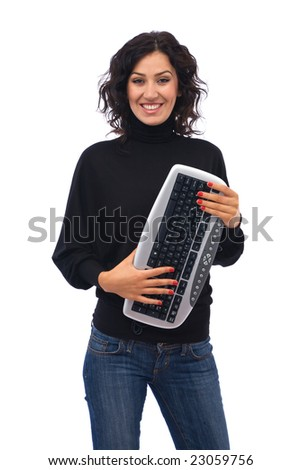 Beautiful young girl with computer keyboard on white background, space for messages