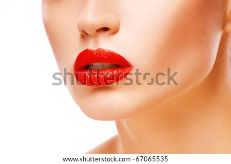 Beautiful young girl with red lips - stock photo