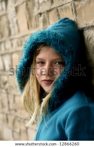 beautiful young girl with stunning eyes - stock photo